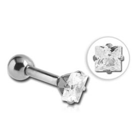 Square Prong Set Jewelled Tragus Barbell Stud- Crystal