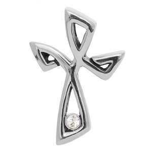 Stainless Steel And CZ Cross Pendant