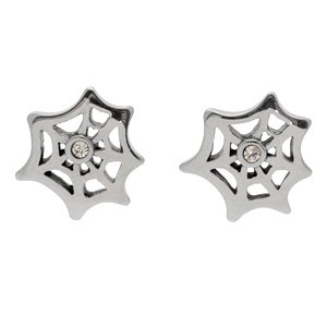 Stainless Steel & CZ Spider Web Earrings