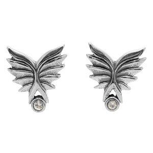 Stainless Steel & CZ Wings Earrings