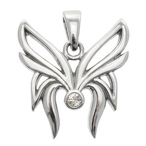 Stainless Steel Butterfly Wings & CZ Pendant