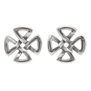 Stainless Steel Round Gothic Cross Earrings
