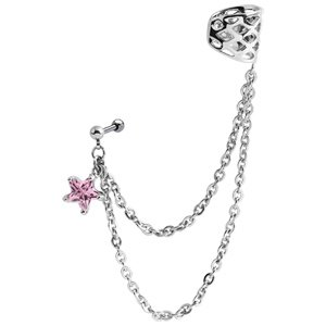 Star Chain Ear Piercing Cuff - Pink