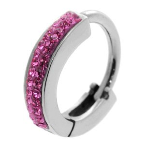 Huggy Steel Belly Button Ring - Pink Sparkle