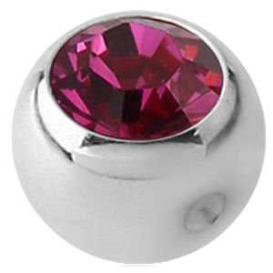 Steel Clip-in Jewelled Balls - Fucshia