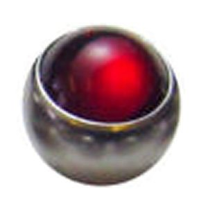 Steel Clip-in Smooth Jewelled Balls - Red