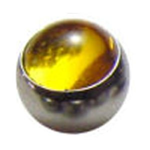 Steel Clip-in Smooth Jewelled Balls - Yellow