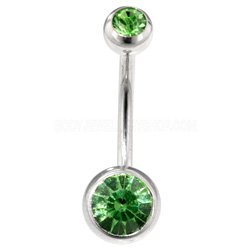 Steel Double Jewelled Navel Bananabell - Light Green