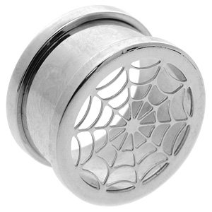 Screw Fit Steel Flesh Tunnel - Spider Web