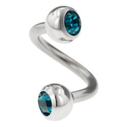 Steel Jewelled Body Spiral - Blue Zircon