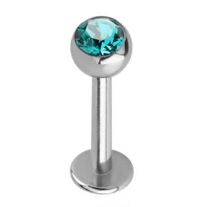 Steel Jewelled Labret Stud - Blue Zircon 4mm Ball