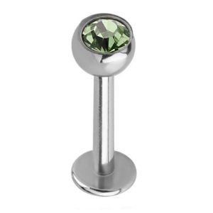 Steel Jewelled Labret Stud - Green 4mm Ball