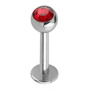 Steel Jewelled Labret Stud - Red 4mm Ball