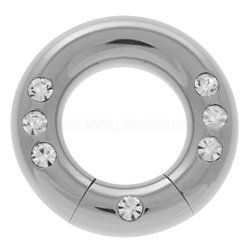 Surgical Steel Smooth Segment Ring - Multi Jewel