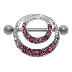Romantic Double Jewelled Hoop Nipple Shield - Pink