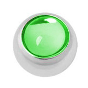 Steel Threaded Smooth Jewelled Balls - Green