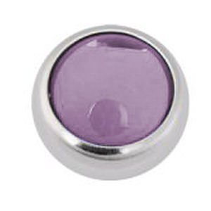 Steel Threaded Smooth Jewelled Balls - Lilac