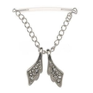 Sterling Silver & PTFE Nipple Chain - Angel Wings