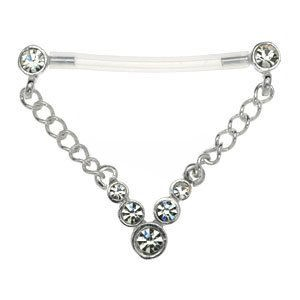 Sterling Silver & PTFE Nipple Chain - Jewelled V