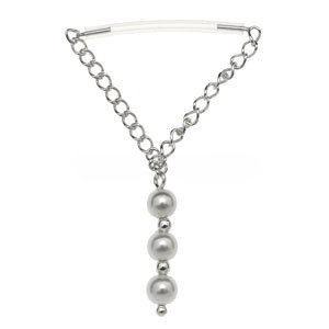 Sterling Silver & PTFE Nipple Chain - Pearl Drop