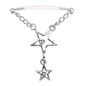 Sterling Silver & PTFE Nipple Chain - Stars