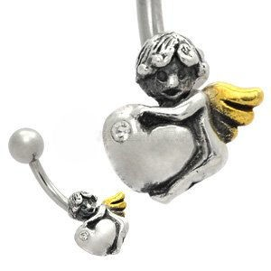 Sterling Silver and Steel Belly Bar - Heart Angel