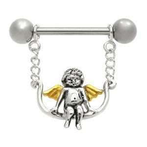 Sterling Silver and Steel Nipple Chain - Angel Swing