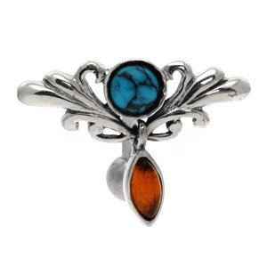 Sterling Silver and Steel Reverse Belly Bar - Turquoise & Amber