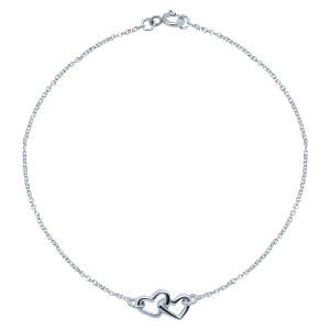 Silver Double Heart Ankle Chain