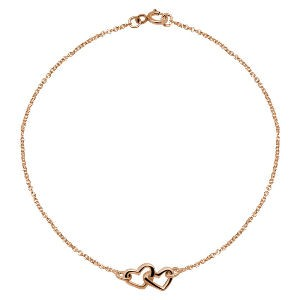 Rose Gold Double Heart Ankle Chain