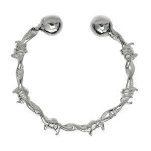 Sterling Silver Fake Nipple Ring - Barbed Wire