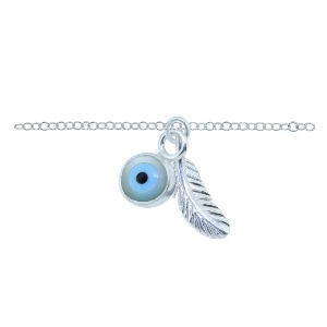 Silver Feather and Evil Eye Ankle Chain