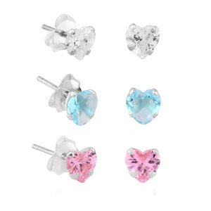 Sterling Silver Jewelled Heart Ear Studs Set