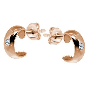 Silver Rose Gold Ear Studs with Crystal Jewel