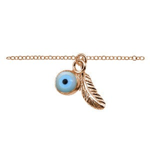 Sterling Silver Rose Gold Feather and Evil Eye Ankle Chain