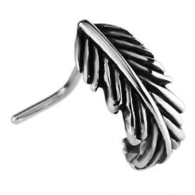 Surgical Steel 90 Degree Nose Stud - Feather