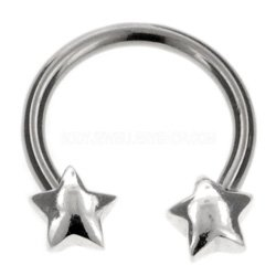 Surgical Steel and Silver Charm Circular Barbell - Stars
