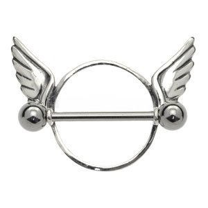 Surgical Steel and Silver Nipple Rounder - Wings