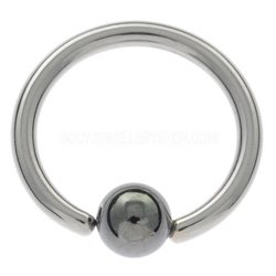 Surgical Steel Ball Closure Ring - Hematite Ball