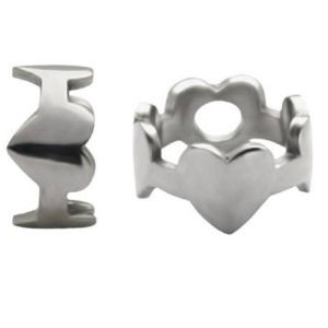 Surgical Steel Ball Shields - Hearts