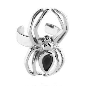 Surgical Steel Black Jewelled Spider Ear Cuff