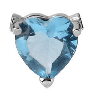 Surgical Steel Clip-In Jewelled Heart - Blue