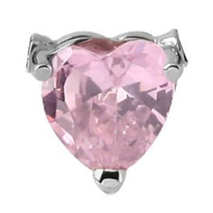 Surgical Steel Clip-In Jewelled Heart - Pink