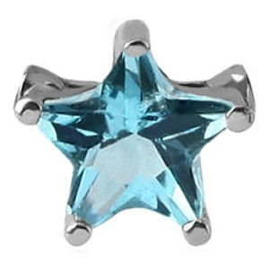 Surgical Steel Clip-In Jewelled Star - Blue