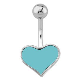 Surgical Steel Coloured Heart Bananabell - Turquoise