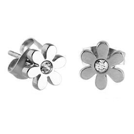 Surgical Steel Crystal Jewelled Flower Ear Studs