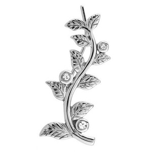 Surgical Steel Crystal Jewelled Leaf Left Ear Climber