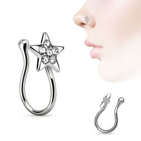 Surgical Steel Crystal Star Nose Clip