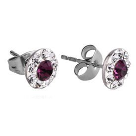 Surgical Steel Crystalline Jewelled Ear Studs - Purple