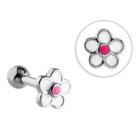 Surgical Steel Enamel Flower Tragus Micro Barbell Stud- Pink & White